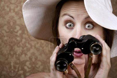 Woman with Sunglasses and Binoculars