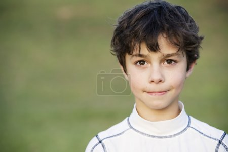 Photo for Portrait of a Young Teen Boy with Dark Curly hair - Royalty Free Image