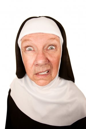 Funny Nun with Angry Expression on her Face...