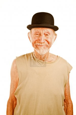 Photo for Crazy senior man in bowler hat on white background - Royalty Free Image