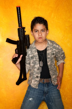 Hispanic Boy with Toy Gun