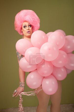 Man in Drag With Pink Balloons