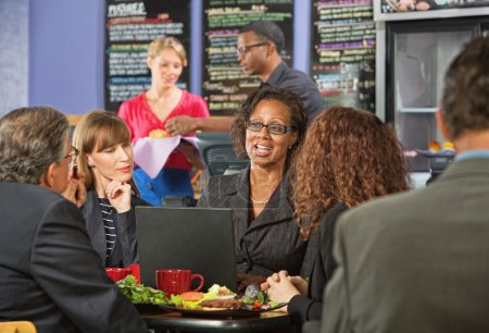 Mature Executives and Working Lunch