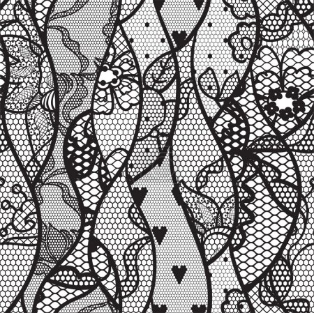 Illustration for Black lace vector fabric seamless pattern with lines and waves - Royalty Free Image