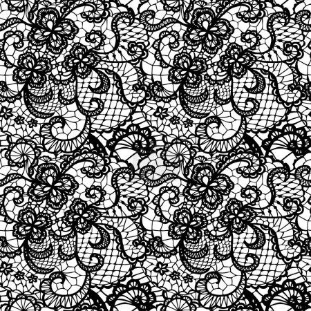 Illustration pour Dentelle motif sans couture noir avec des fleurs sur fond blanc - image libre de droit