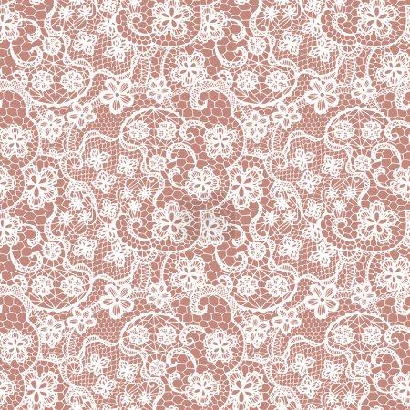 Illustration pour Dentelle motif sans couture avec des fleurs sur fond beige - image libre de droit