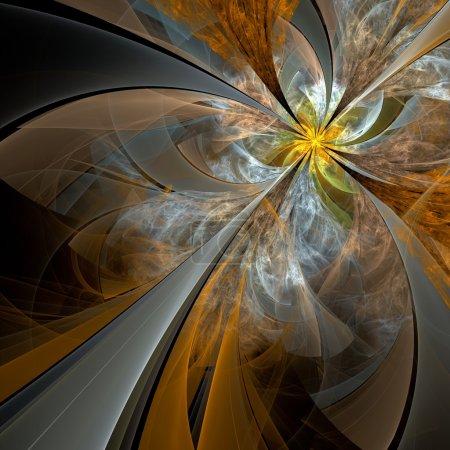 Photo pour Fleur fractale symétrique, illustration numérique pour graphique créatif - image libre de droit