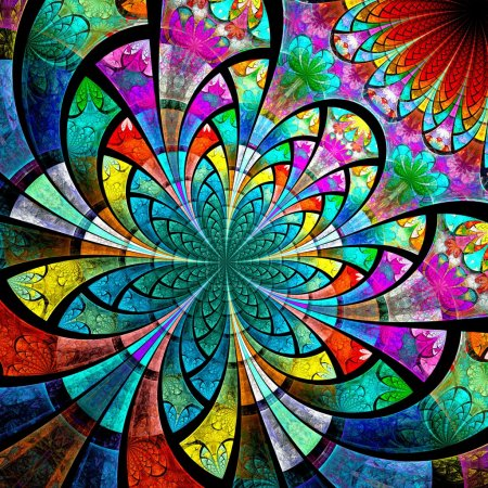 Photo for Colorful one fractal flower, digital artwork graphic - Royalty Free Image