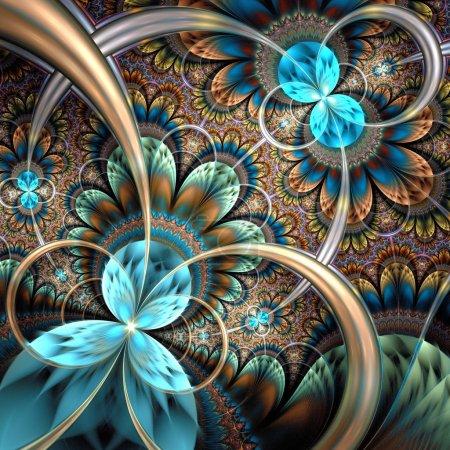 Photo for Dark yellow fractal flower, digital artwork graphic - Royalty Free Image