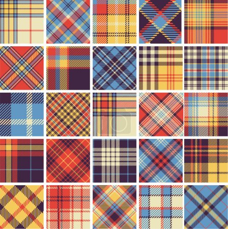 Illustration for Big set of seamless tartan patterns - Royalty Free Image