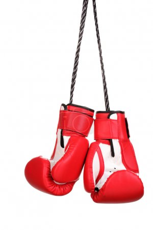 Photo for Red boxing gloves hanging isolated on white - Royalty Free Image