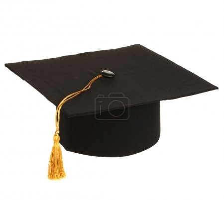 Grad hat in hand isolated on white