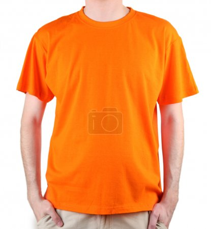 Man in orange T-shirt close-up