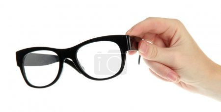 woman hand with black glasses, isolated on white
