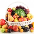 Still life of fruit in basket isolated on white...