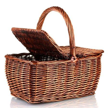 Photo for Picnic basket, isolated on white - Royalty Free Image