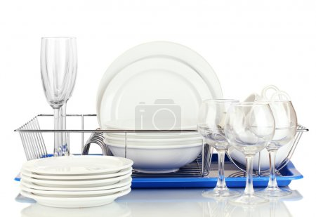 Photo for Clean dishes on stand isolated on white - Royalty Free Image