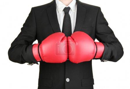 Photo pour Homme d'affaires en gants de boxe isolé sur blanc - image libre de droit