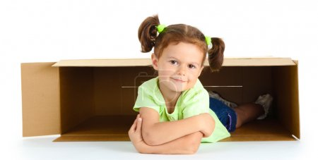 beautiful little girl with box isolated on white