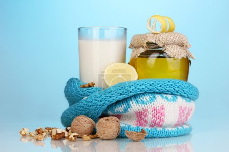 Healthy ingredients for strengthening immunity on blue background