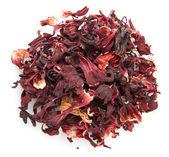 Aromatic Hibiscus tea, isolated on white