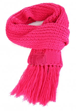 Warm knitted scarf pink isolated on white