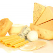 Various types of cheese isolated on white...