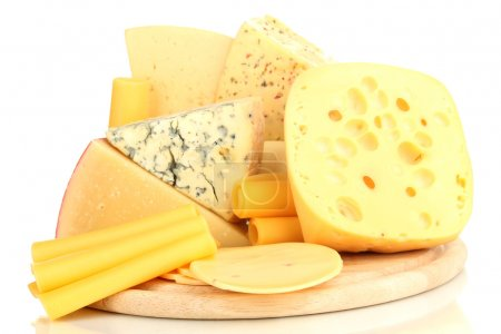 Photo for Various types of cheese isolated on white - Royalty Free Image