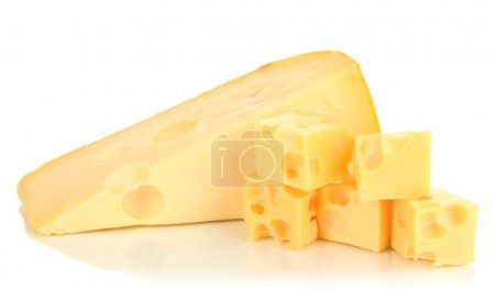 Photo for Cut cheese isolated on white - Royalty Free Image