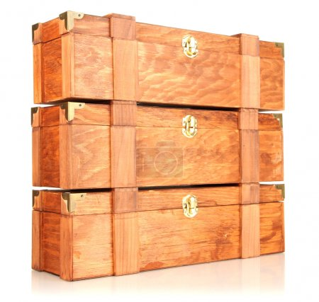 Wooden boxes for wine isolated on white