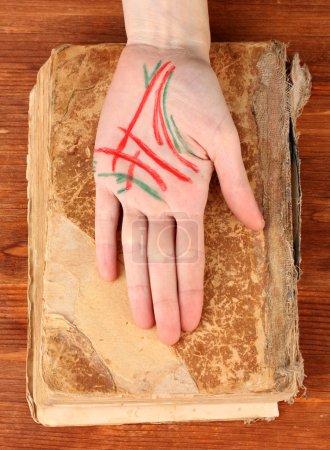 Chiromancy.Color contours on palm, on wooden background