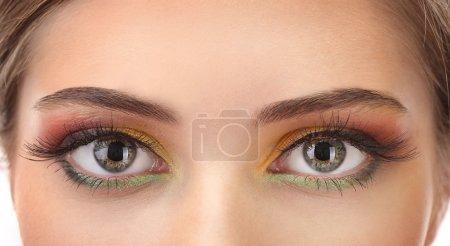 beautiful female eyes with bright autumn make-up
