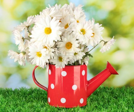 Flowers in vase on grass on bright background