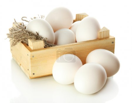 Photo for Many eggs in box isolated on white - Royalty Free Image