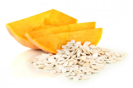 Photo for Pumpkin seeds isolated on the white - Royalty Free Image