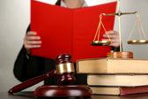 Judge read verdict on grey background