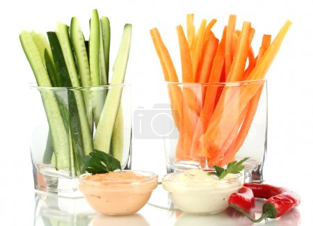 Assorted raw vegetables sticks isolated on white