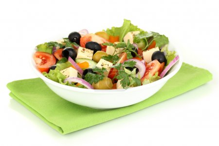 Photo for Greek salad in plate isolated on white - Royalty Free Image