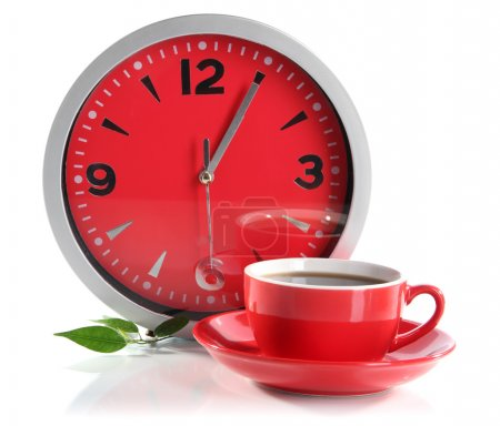 Photo for Cup coffee and clock isolated on white - Royalty Free Image