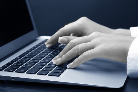 Female hands typing on laptot, close-up
