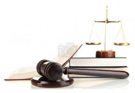 Golden scales of justice, gavel and books isolated...