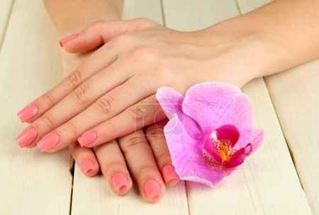 Woman hands with pink manicure and orchid on wooden background