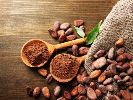 Kakaopulver in Löffeln und Kakaobohnen auf Holzgrund
