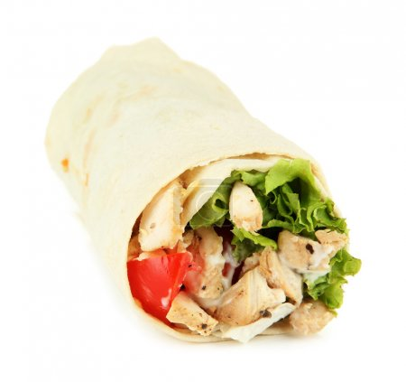 Kebab - grilled meat and vegetables, isolated on white