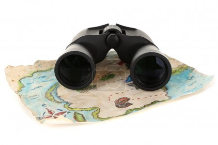 Photo for Black modern binoculars with map of adventure isolated on white - Royalty Free Image