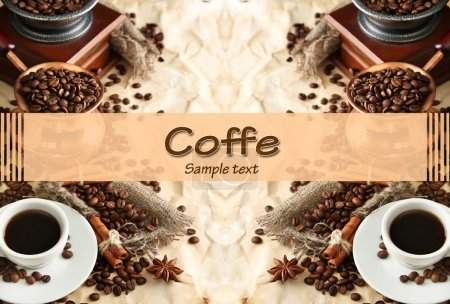 Photo for Cup of coffee, pot and grinder on beige background - Royalty Free Image
