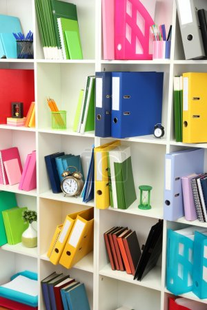 Photo for White office shelves with different stationery, close up - Royalty Free Image
