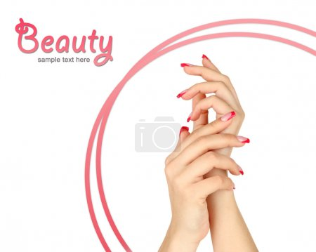 Closeup of hands of young woman with elegance manicure