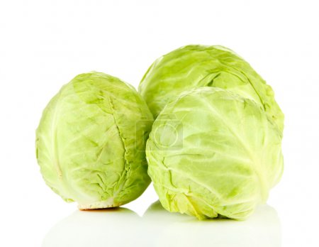 Green cabbage, isolated on white