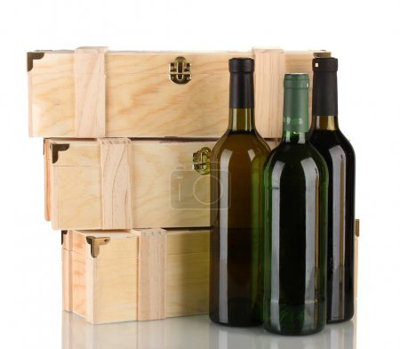 Wooden boxes for wine, isolated on white